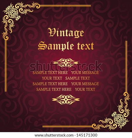 Vintage luxury background with frame. Seamless damask wallpaper. Elegant invitation - stock vector