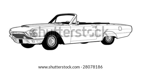Vintage Luxury Convertible Line Drawing