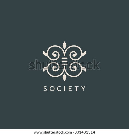 Vintage luxury emblem and logo. Abstract fashion ethnic print. Calligraphic flourishes. Black and white vector ornament. Business sign for Restaurant, Royalty, Cafe, Hotel, Heraldic and Jewelry stamp - stock vector