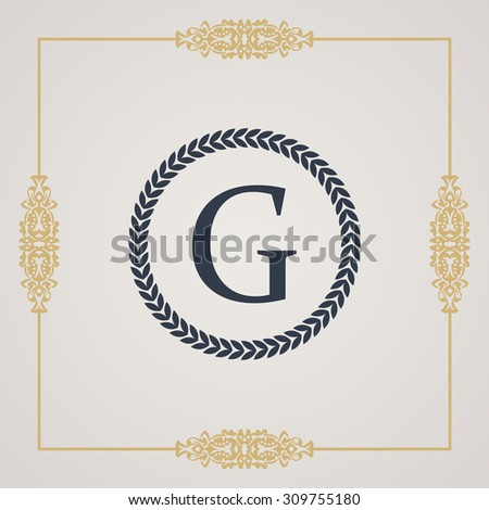 Vintage luxury emblem. Elegant Calligraphic pattern on vector logo. Round monogram G - stock vector