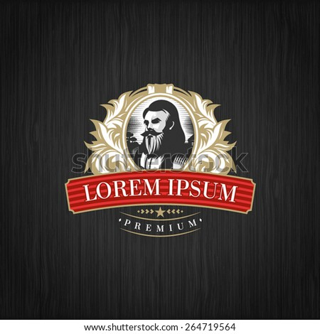 Vintage luxury label logo - stock vector