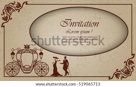 Vintage luxury wedding invitation lady gentleman stock vector vintage luxury wedding invitation lady gentleman and the coach old shabby background with stopboris Choice Image