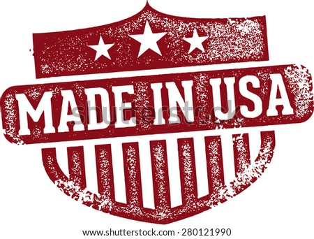 Vintage Made in USA Rubber Stamp - stock vector