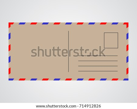 vintage mail postcard backside template made stock vector 714912826
