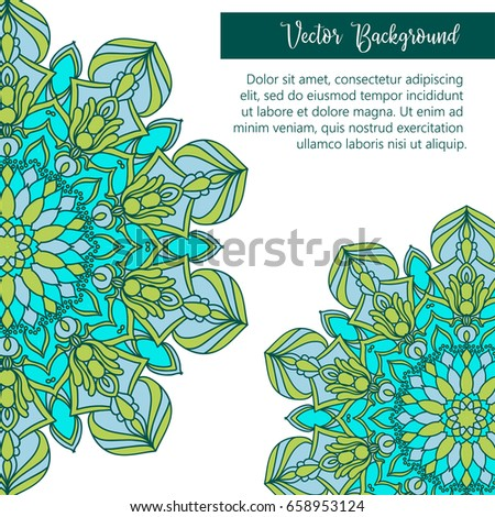 Vintage mandala ornament background with text. Vector image.