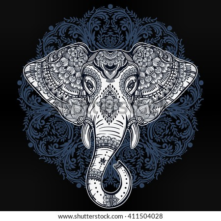 Vintage mandala vector elephant with tribal ornaments. Ideal ethnic background, tattoo art, yoga, African, Indian, Thai, spirituality, boho design. Use for print, posters, t-shirts, textiles. - stock vector
