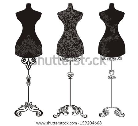 Vintage Mannequin - stock vector