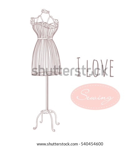Vintage Mannequin Vector Template Sewing Collection Stock Vector ...