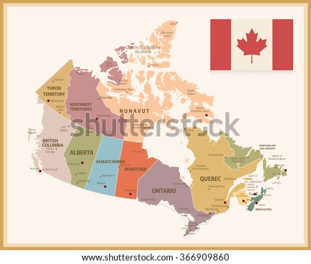 Vintage Map of Canada with flag. Highly detailed vector illustration. - stock vector