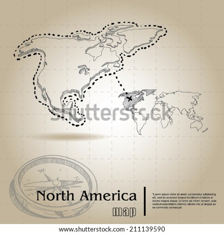 vintage map of North Armerica - stock vector