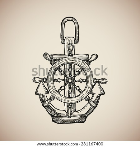 Vintage Marine Anchor Steering Wheel Isolated Stock Vector 281167400