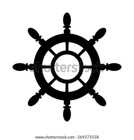 Vintage marine card with steering wheel - stock vector