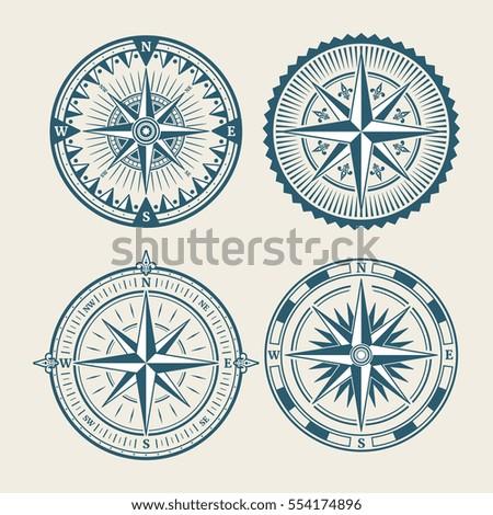 Vintage Marine Compass Logo Set Symbol Stock Vector Hd Royalty Free