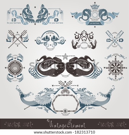 vintage marine engraving labels with mermaid - stock vector