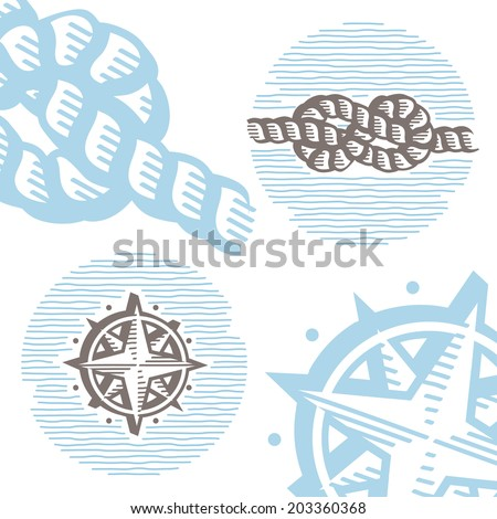 Vintage marine symbols vector icon set: engraving knot and wind rose. Collection of retro style sea signs.  - stock vector