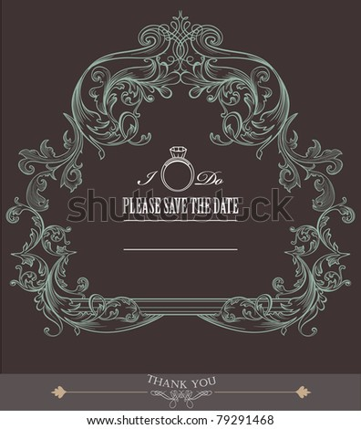 vintage marriage card - stock vector