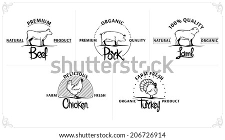 Vintage Meat Labels Templates - stock vector