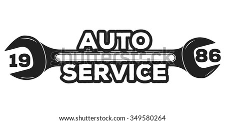 Vintage mechanic auto service repair label, emblem and logo. Vector illustration.  Car service - stock vector