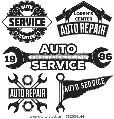Vintage mechanic auto service repair label, emblem and logo. Vector illustration.  Car service, fix. Monochrome auto repair car service logo for invitations, projects, cards, prints, etc. - stock vector