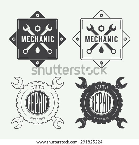 Vintage mechanic label, emblem and logo. Vector illustration - stock vector