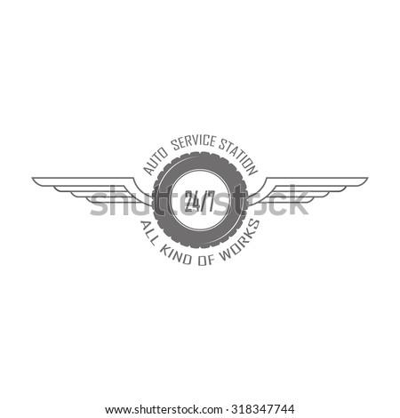 Vintage mechanic label, emblem and logo. Vector illustration - stock vector