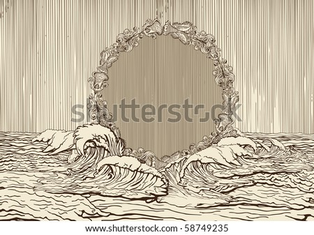 Vintage medallion surrounded bye water waves - stock vector