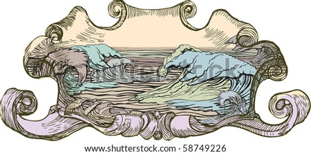 Vintage medallion with color water waves - stock vector