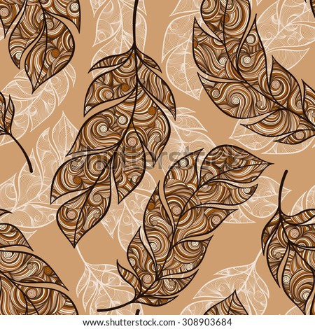Vintage mehndi seamless pattern with hand-drawn feathers.  for desktop wallpaper or frame for a wall hanging or poster,for pattern fills, surface textures, web page backgrounds, textile and more. - stock vector