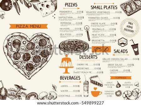 Vintage menu design for cafe or restaurant. Valentine's Day template. Vector background with hand drawn food and drinks sketch on chalkboard.