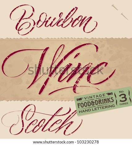 vintage menu headlines set  - handmade calligraphic food & drinks inscriptions with grunge effect; vector illustration (eps8); - stock vector