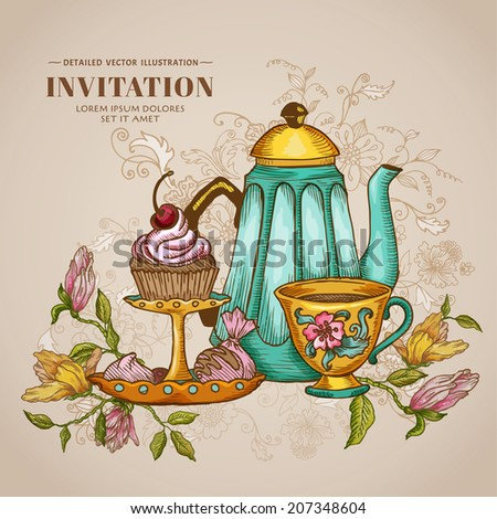Vintage Menu or Invitation Card - with Teapot and Desserts - in vector - stock vector
