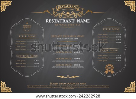 vintage menu restarante chalk board design - stock vector