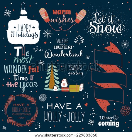 Vintage Merry Christmas And Happy New Year Calligraphic And Typographic Background. Greeting stylish illustration of winter elements and wishes. Good for design, cards or posters. Scrapbooking. - stock vector