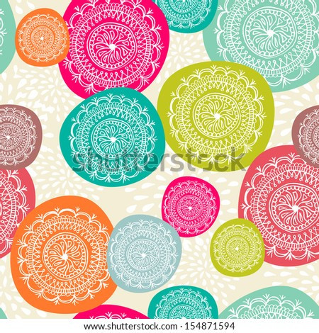 Vintage Merry Christmas circle elements seamless pattern background. EPS10 vector file organized in layers for easy editing.  - stock vector