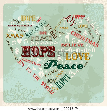 Vintage Merry Christmas concept words in heart shape. Vector illustration layered for easy manipulation and custom coloring. - stock vector