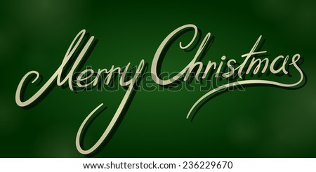 vintage merry christmas dark green banner - stock vector
