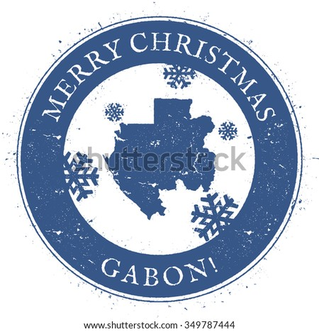 Vintage Merry Christmas Gabon Stamp. Stylised rubber stamp with map of Gabon and Merry Christmas text, vector illustration