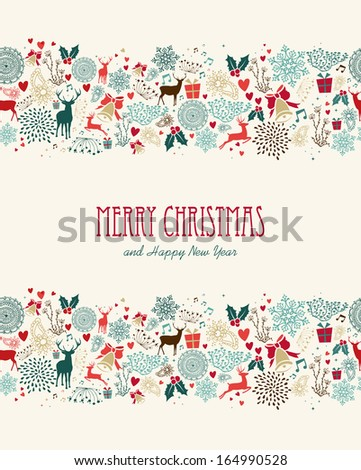 Vintage Merry Christmas greeting card seamless pattern background. EPS10 vector file organized in layers for easy editing. - stock vector