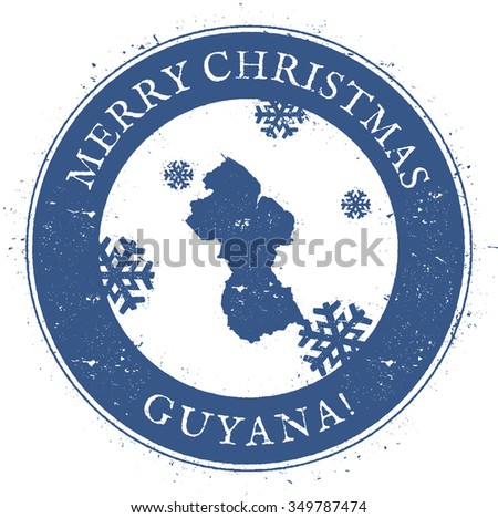 Vintage Merry Christmas Guyana Stamp. Stylised rubber stamp with map of Guyana and Merry Christmas text, vector illustration