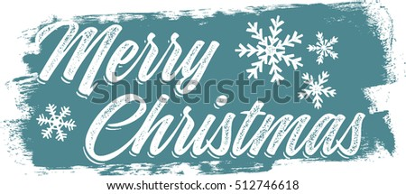 Vintage Merry Christmas Painted Banner