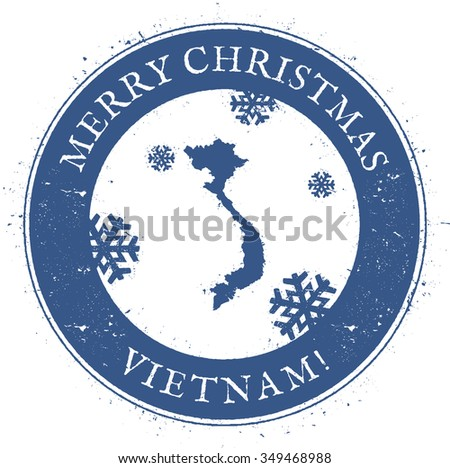 Vintage Merry Christmas Vietnam Stamp. Stylised rubber stamp with map of Vietnam and Merry Christmas text, vector illustration