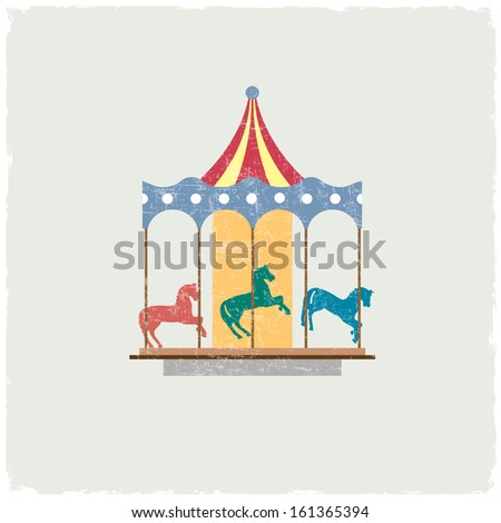 Vintage merry-go-round with horses. Vector EPS10