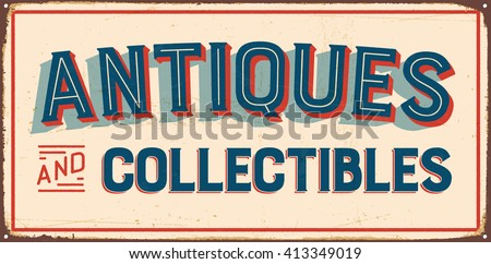 Vintage Metal Sign Antiques Collectibles Vector Stock ...