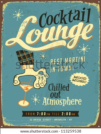 Vintage metal sign - Cocktail Lounge - Vector EPS10. Grunge effects can be easily removed for a brand new, clean sign. - stock vector