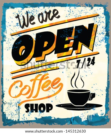 Vintage metal sign - Fresh Brewed Coffee - Vector POSTER. Grunge effects can be easily removed. - stock vector