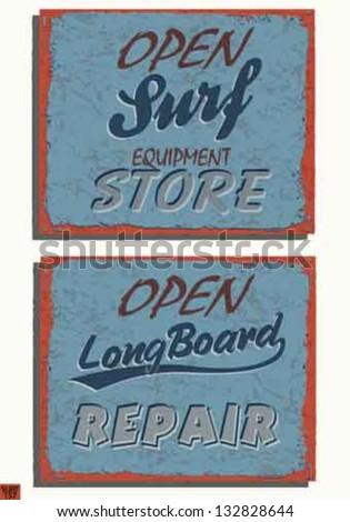 Vintage metal sign - Open sign vector set-  Grunge effects set - stock vector