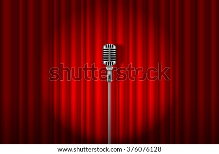 Vintage Microphone against red curtain with spotlight light backdrop - stock vector