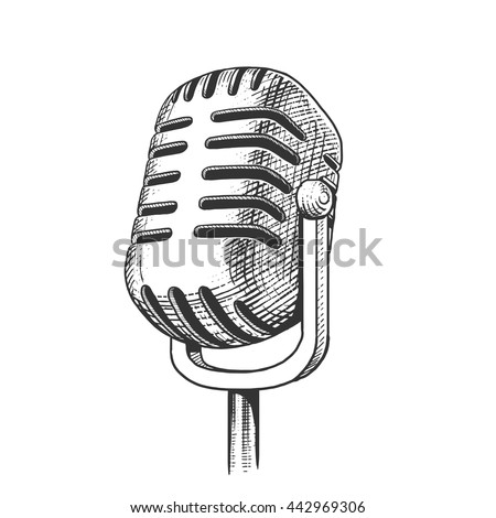 Vintage Microphone Hand Drawn Engraving Style 442969306 on vintage microphone