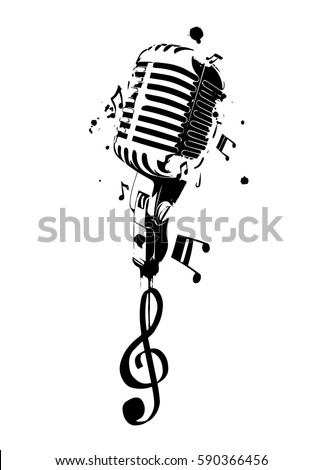 Microphone With Stand Drawing Vintage Microph...