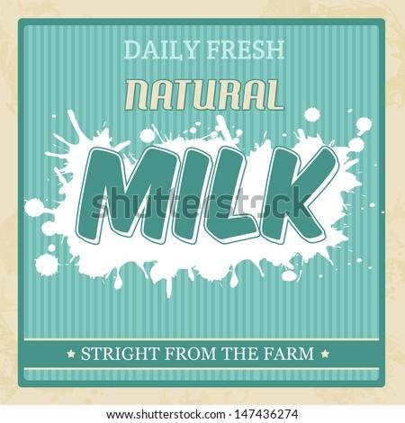 Vintage milk poster in retro style, vector illustration - stock vector